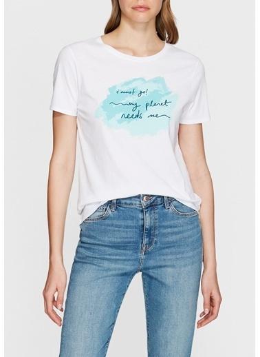 Mavi Yazı Baskılı Tişört Beyaz